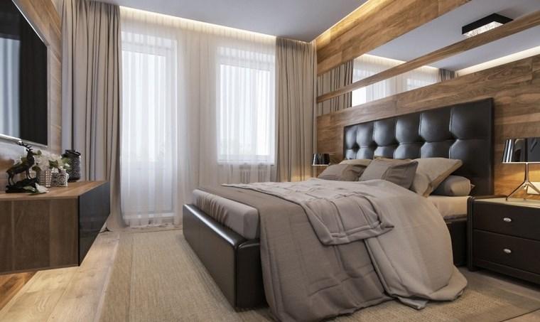 decoracion dormitorios moderno cama respaldo cuero ideas