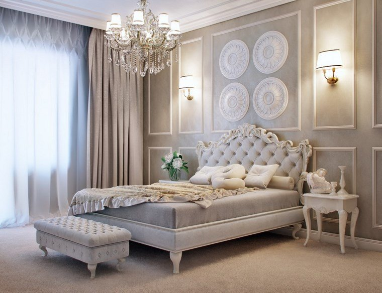decoracion dormitorios moderno cama respaldo gris ideas