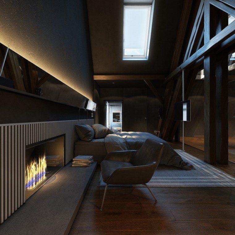 decoracion dormitorios moderno chimenea ideas