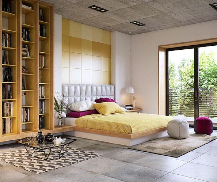 decoracion dormitorios moderno color amarillo losas ideas