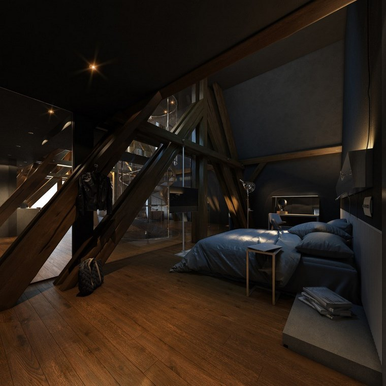 decoracion dormitorios moderno columnas acero ideas