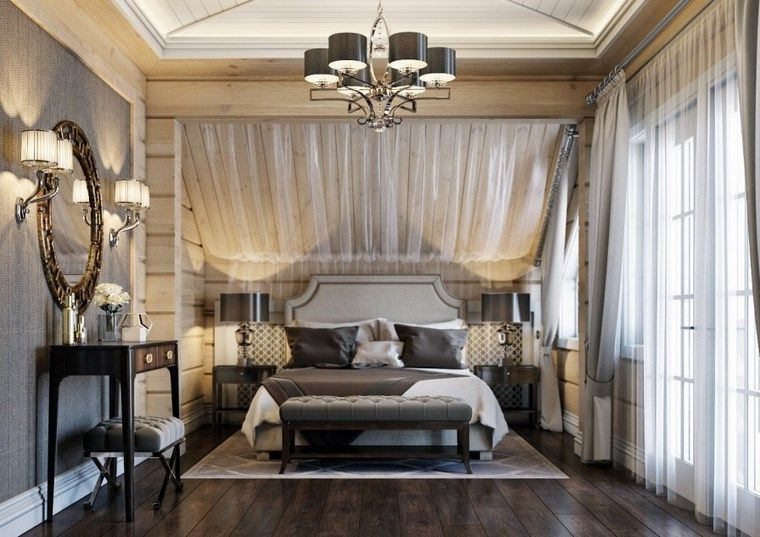 decoracion dormitorios moderno cortinas ventana techo ideas