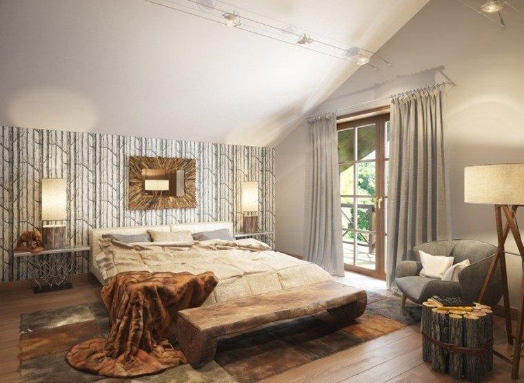 decoracion dormitorios moderno lampara banco madera ideas