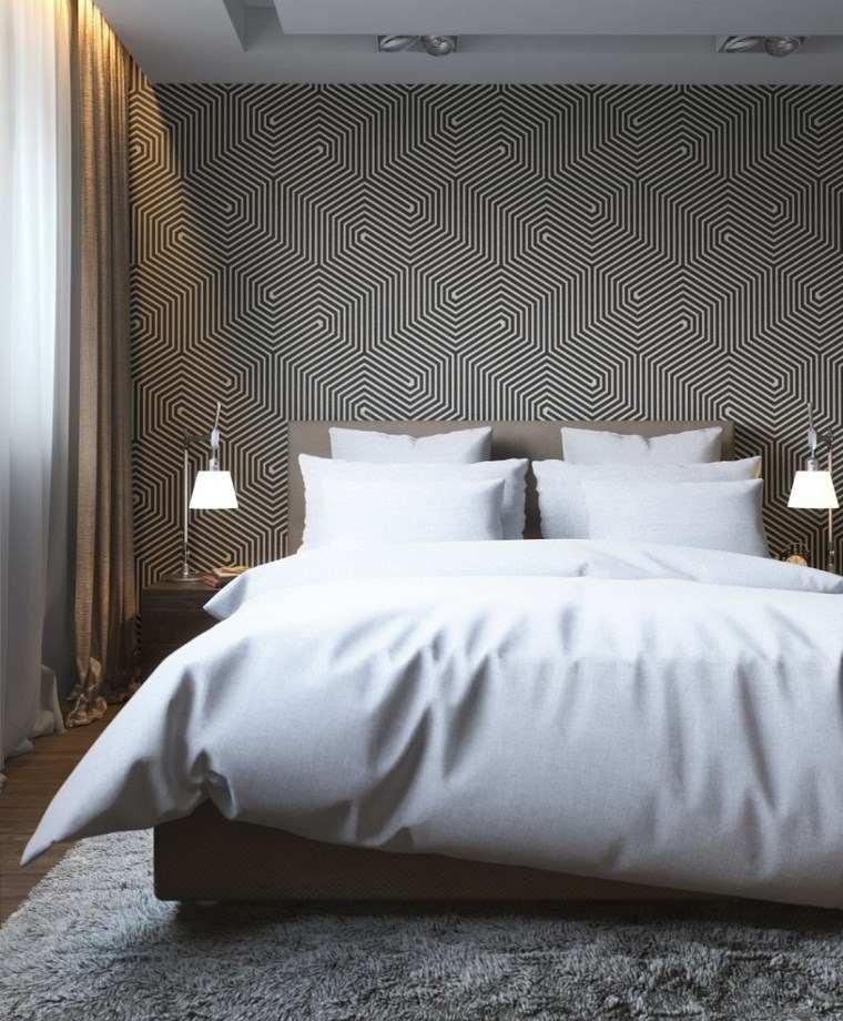 decoracion dormitorios moderno papel pared blanco negro ideas