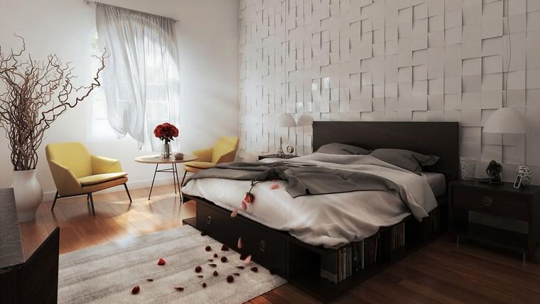 decoracion dormitorio moderno pared blanco sillones amarillos ideas