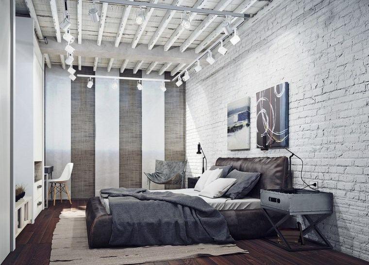 decoracion dormitorio moderno pared ladrillo blanco ideas