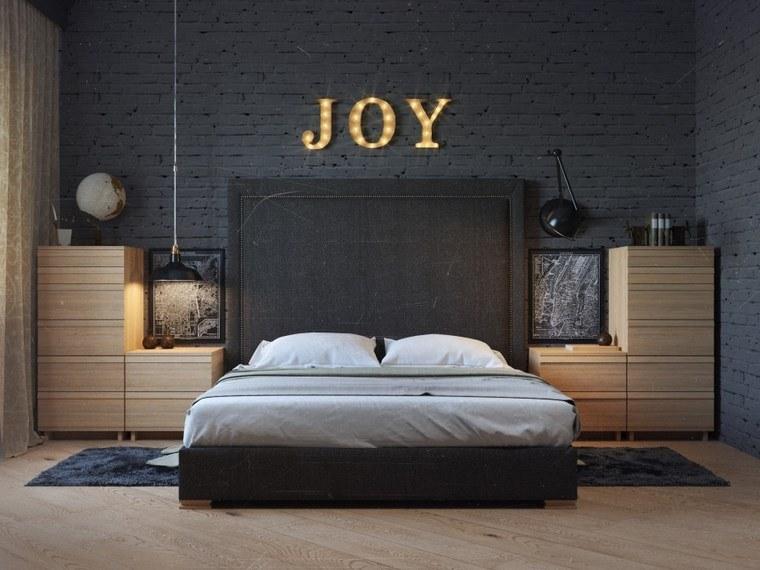decoracion dormitorio moderno pared ladrillo negro ideas