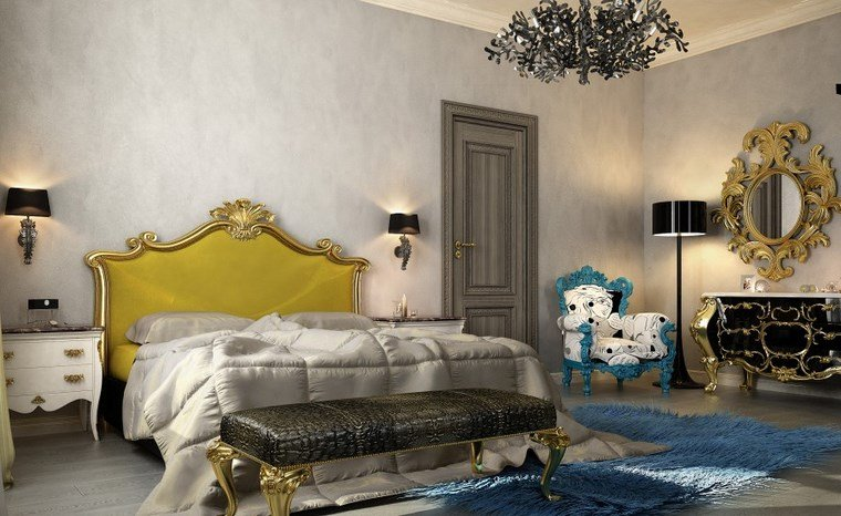decoracion dormitorio moderno respaldo cama amarillo ideas
