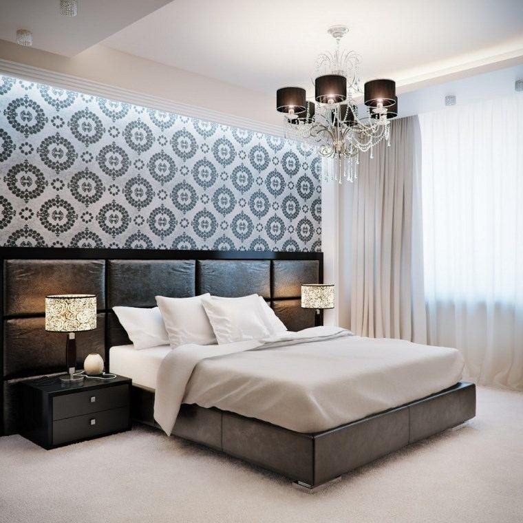decoracion dormitorio moderno respaldo cama negro ideas
