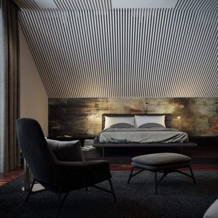 decoracion dormitorio moderno sillon taburete cama gris ideas