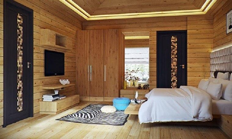 decoracion dormitorio moderno suelo paredes armario madera ideas
