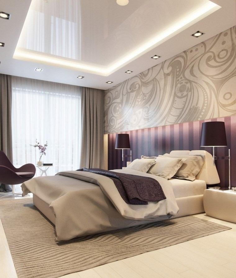 decoracion dormitorio moderno toques color purpura ideas