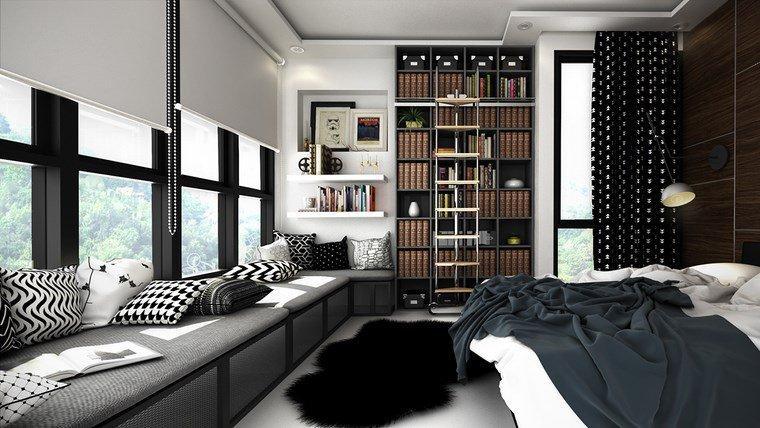decoracion dormitorio modernos bancos estanterias ideas
