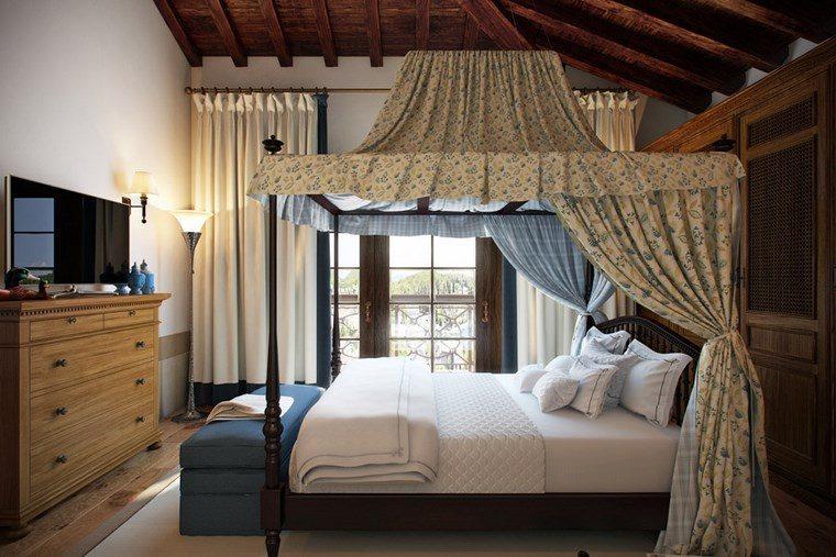 decoracion dormitorio modernos cama madera dosel ideas