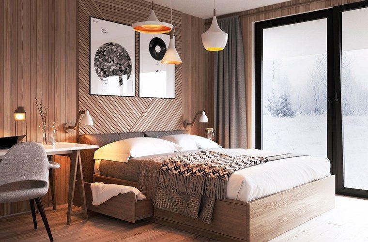 decoracion dormitorio modernos cama madera lamparas