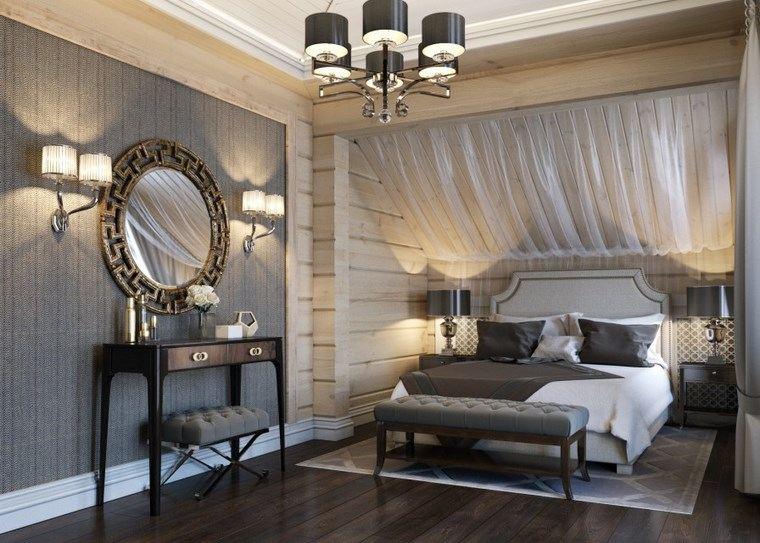 decoracion dormitorio modernos espejo taburetes ideas