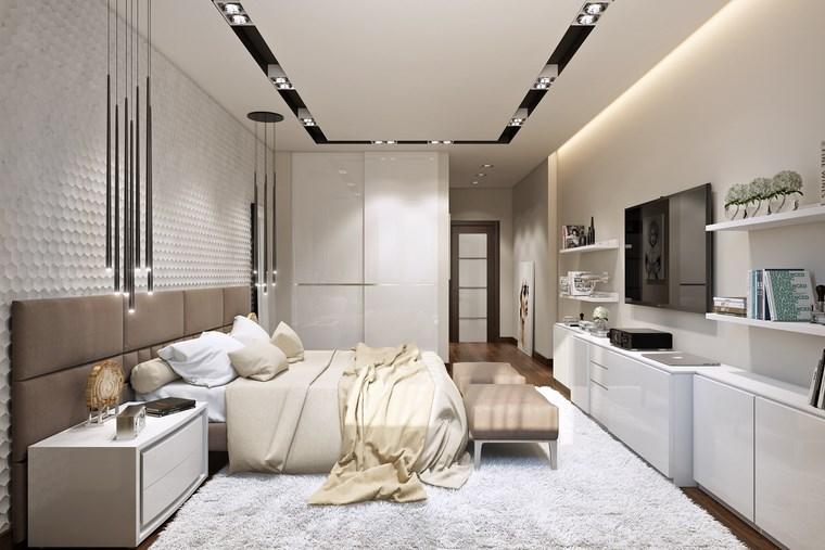 decoracion dormitorio modernos estanterias blancas ideas
