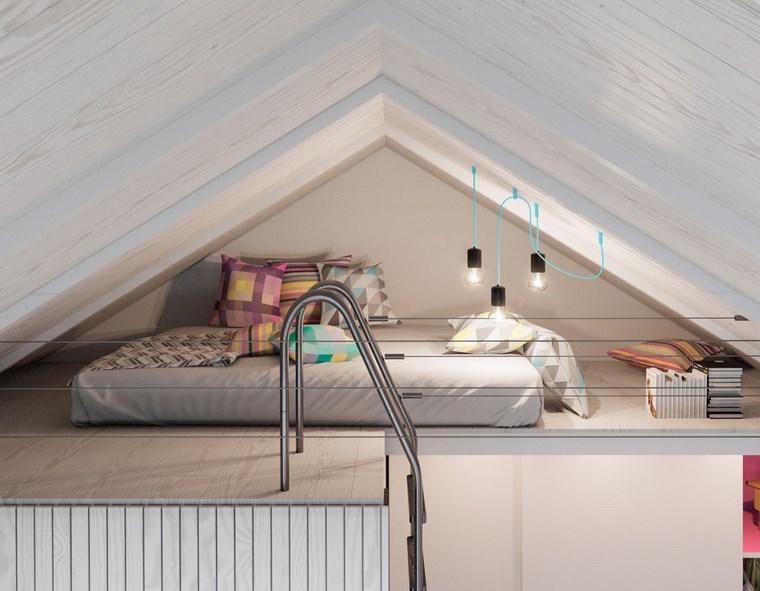 decoracion dormitorio modernos estrecho techo blanco ideas