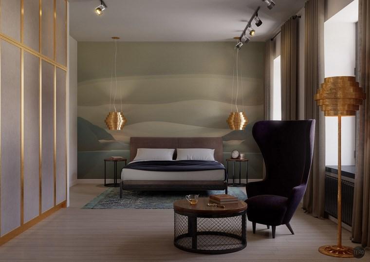 decoracion dormitorio modernos lamparas color oro ideas