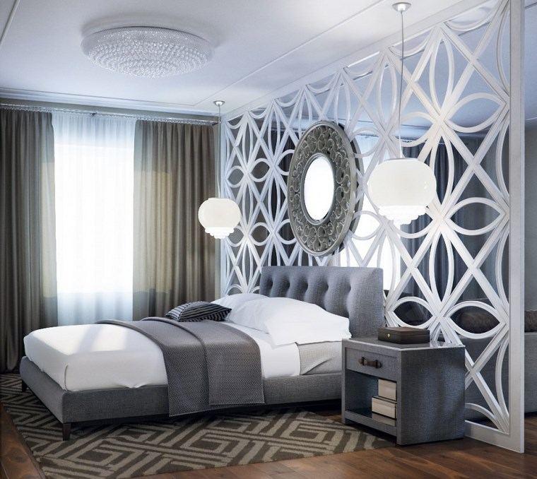 dormitorio modernos pared separadora madera blanca ideas