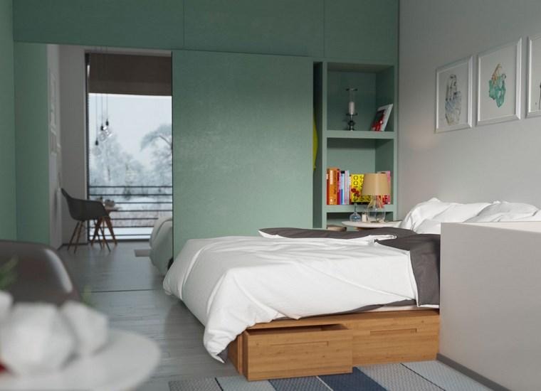decoracion dormitorio modernos paredes verde blanco ideas
