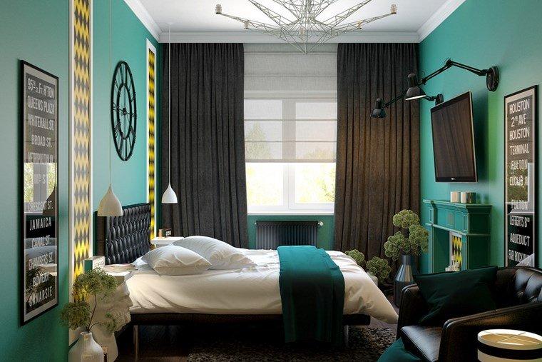 decoracion dormitorio modernos reloj pared verde ideas