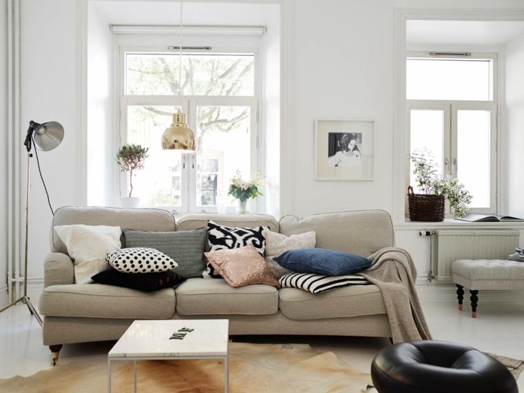 decoracion escandinava sala estar sofa beige