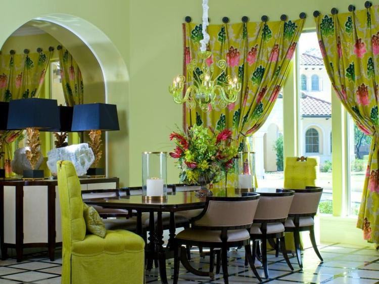 decoracion mesas de comedor maderas amarillo salones