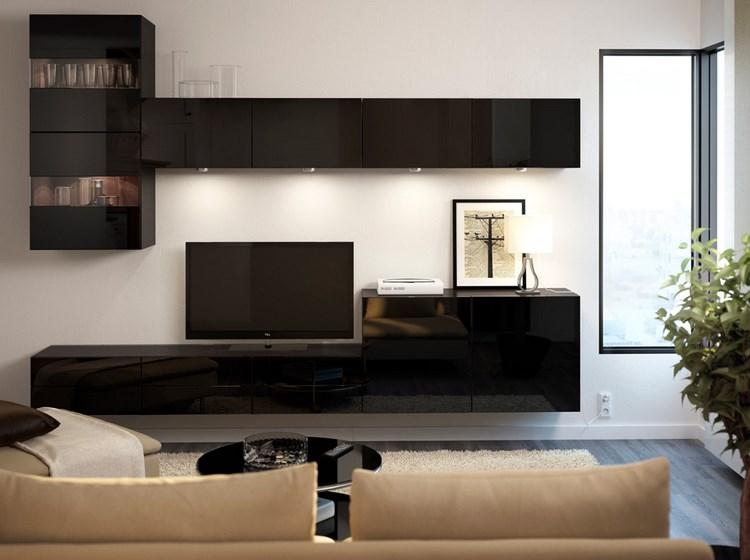 decoracion paredes muebles color negro brillante ideas