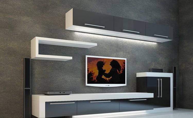 decoracion paredes muebles negro blanco iluminacion LED ideas