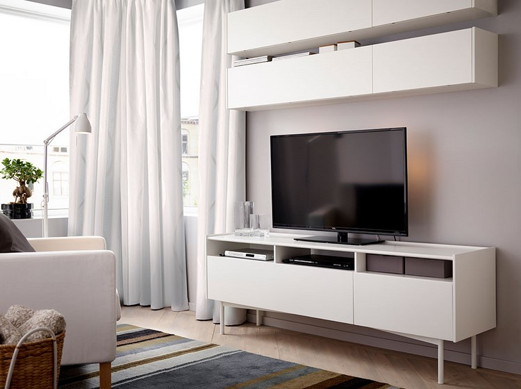decoracion paredes muebles opciones blanco salon pequeno ideas