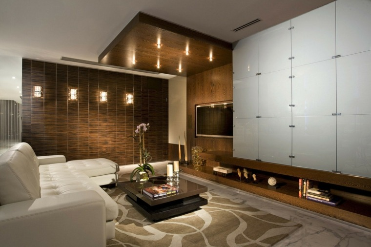 Decoracion salon moderno 50 dise os en blanco y madera - Decoracion salon moderno ...