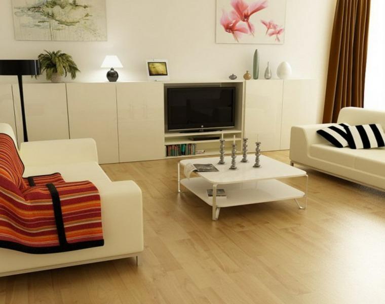 Decoracion salon moderno 50 dise os en blanco y madera - Salon moderno blanco ...