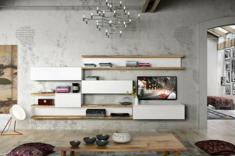 Decoracion salon moderno 50 dise os en blanco y madera - Muebles con ladrillos ...