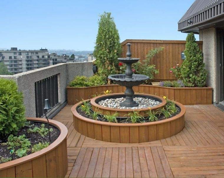decoración terrazas fuente precioso plantas ideas