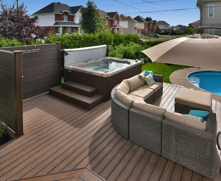Decoraci n terrazas y jardines espectaculares - Jacuzzi aire libre ...