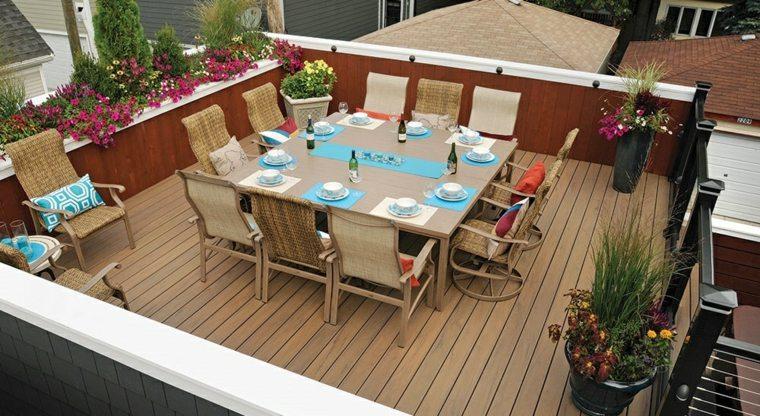 decoración terrazas mesa grande comidas aire libre ideas