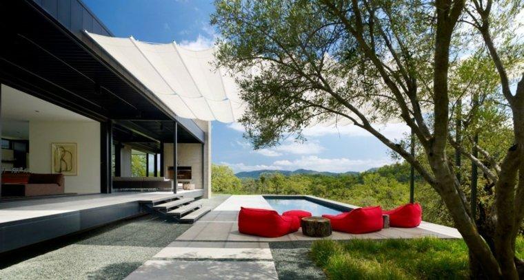 decoracion terrazas muebles rojos ideas