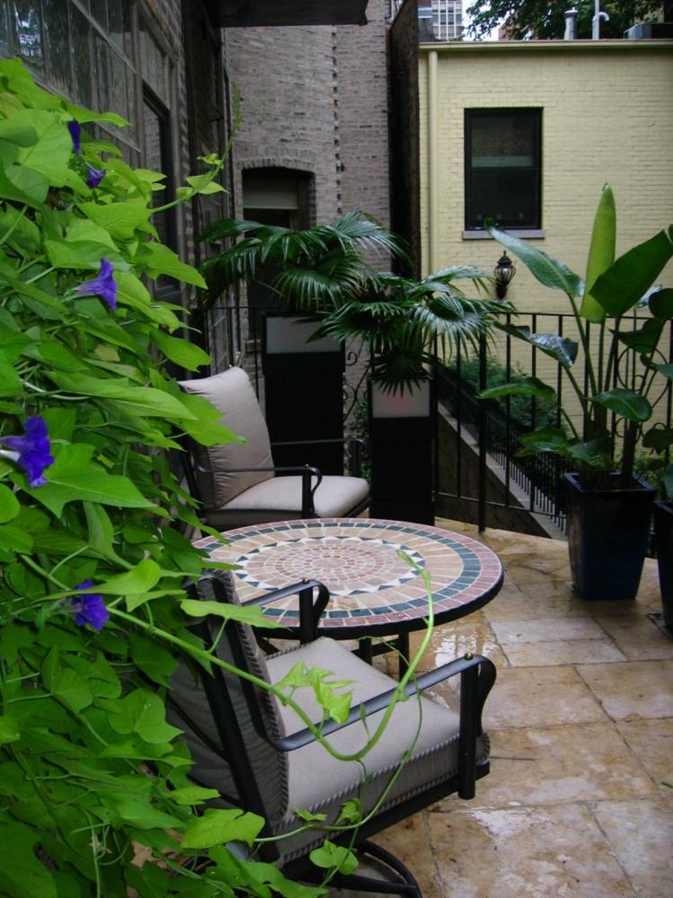 decoracion terrazas pequeñas balcones macetas muebles