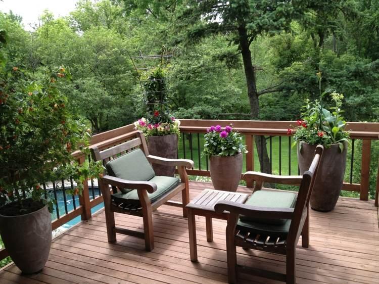 decoracion terrazas pequeñas campestre suelos macetas
