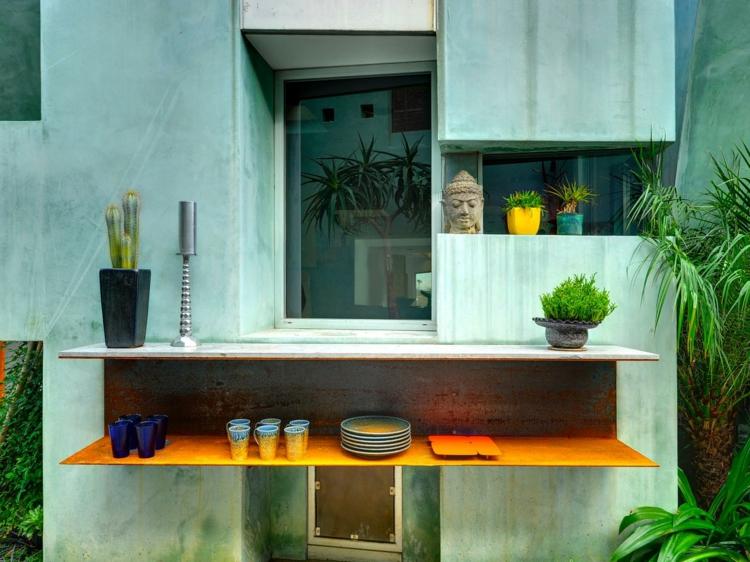 decoracion terrazas pequeñas mueble paredes estantes