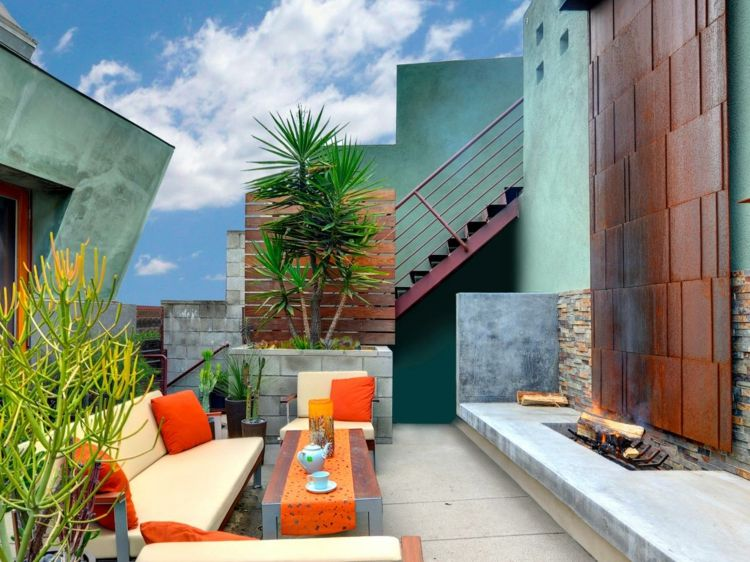 decoracion terrazas pequeñas naranja chimeneas hoguera