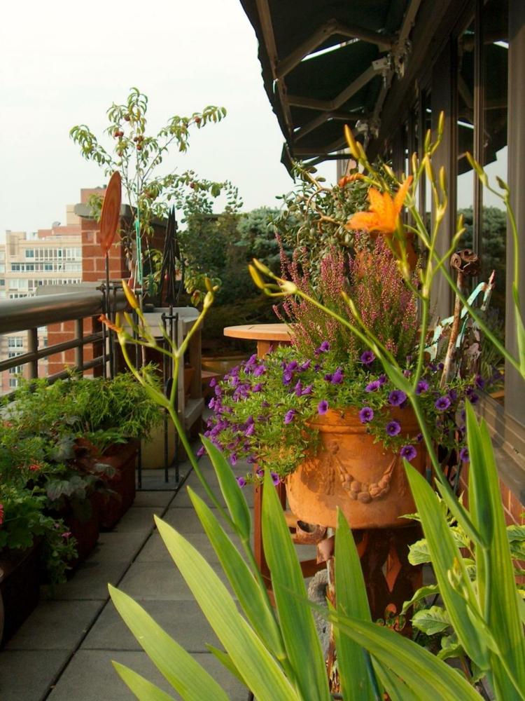 decoracion terrazas pequeñas naturales flores colores