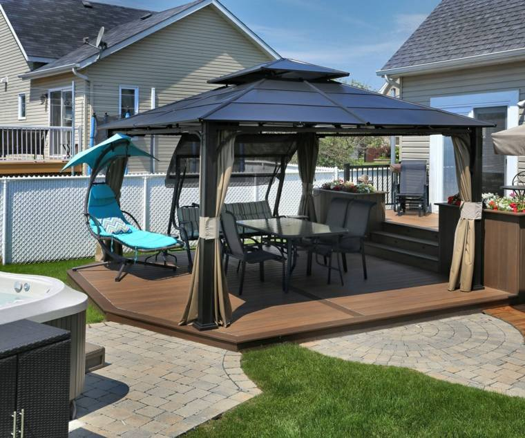 decoracion terrazas pergola tumbona balanceante ideas