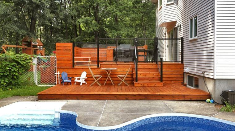 decoracion terrazas suelo muebles madera ideas