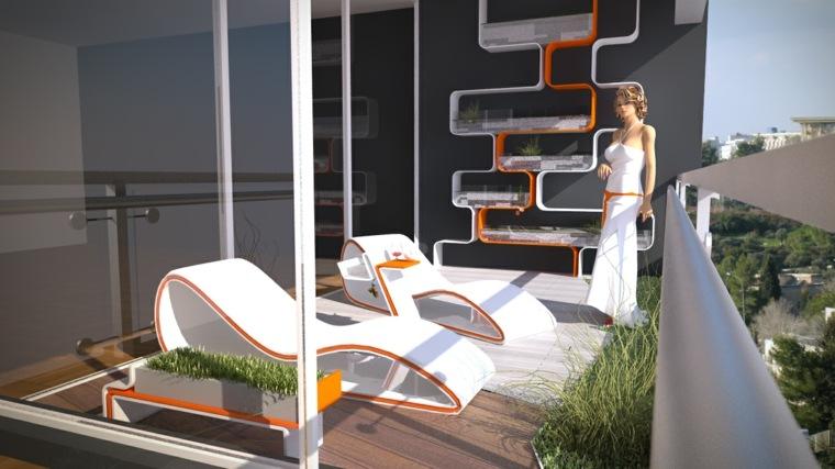 decoracion terrazas tumbonas modernas blancas ideas