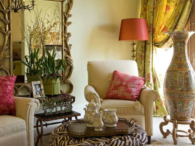decoracion vintage de interiores sala estar plantas