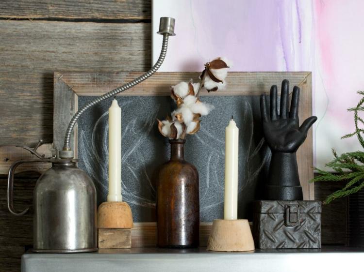 decoracion vintage de interiores velas maderas cuadros