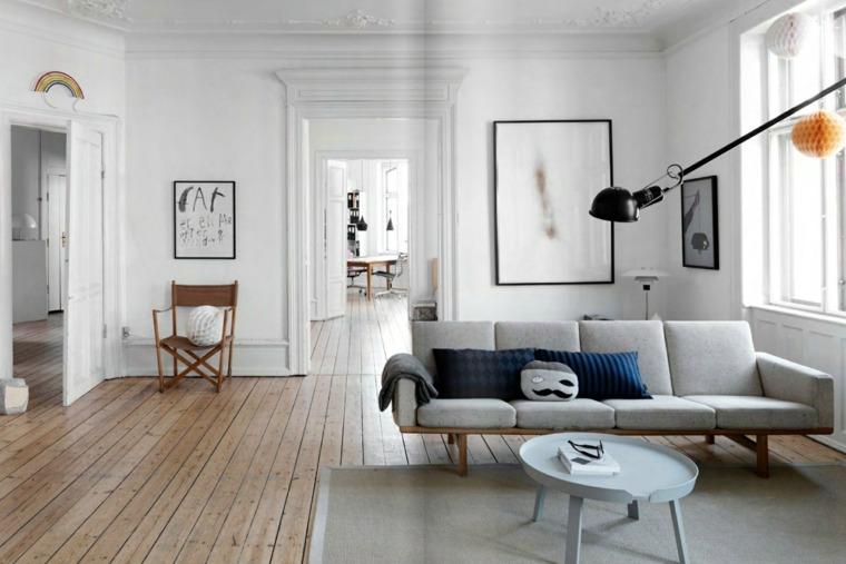 decoración escandinava sofa gris