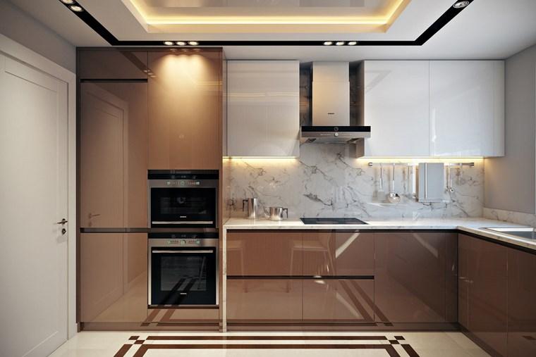 imagenes muebles de cocina pequenas decoracion cocinas pequeas armarios beige brillante idea